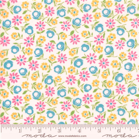 Moda Good Day 22372 11 White/Turquoise Bursting Blooms By The Yard