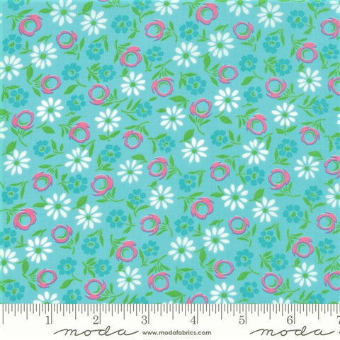 Moda Good Day 22372 12 Aqua Bursting Blooms By The Yard