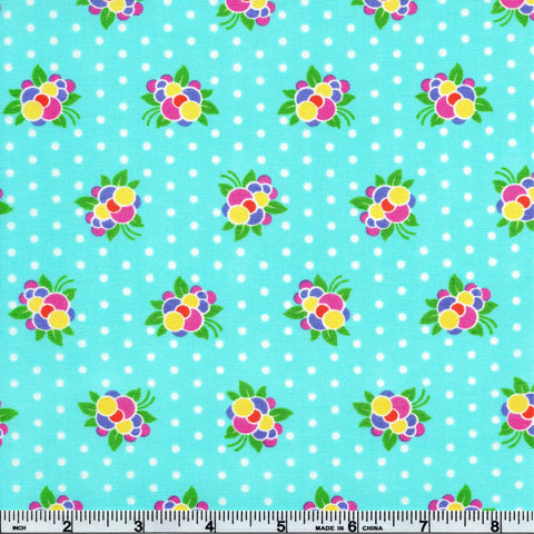 Moda Good Day 22373 12 Aqua Flower Pop By The Yard