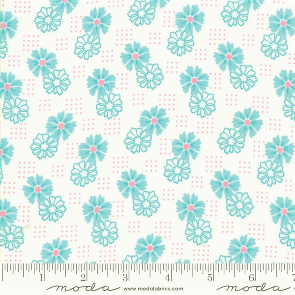 Moda Good Day 22376 12 Turquoise Perky Posies By The Yard