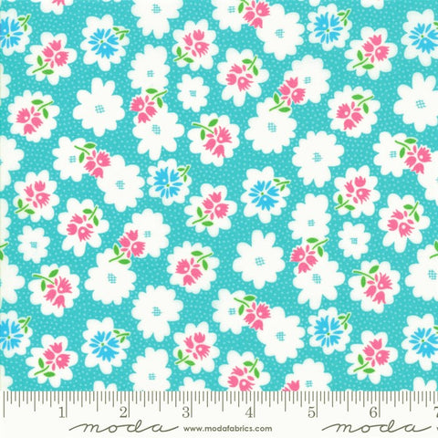 Moda Fiddle Dee Dee 22383 11 Turquoise Flower Fiddle By The Yard