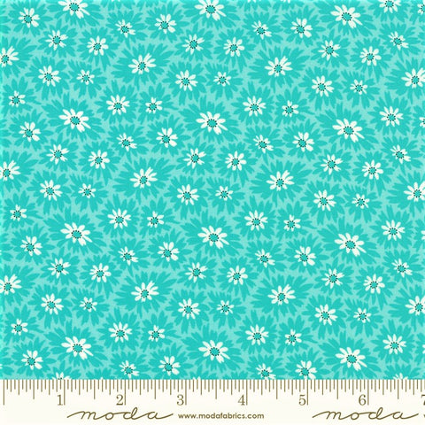 Moda Fiddle Dee Dee 22386 11 Turquoise Double Dee Flowers By The Yard
