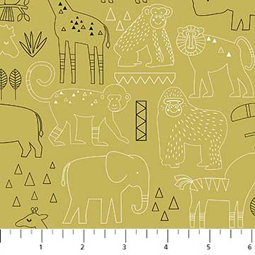 Northcott Safari Swank 22403 74 Safari Sketch Animals On Dk. Olive By The Yard