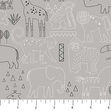 Northcott Safari Swank 22403 92 Safari Sketch Animals On Grey By The Yard