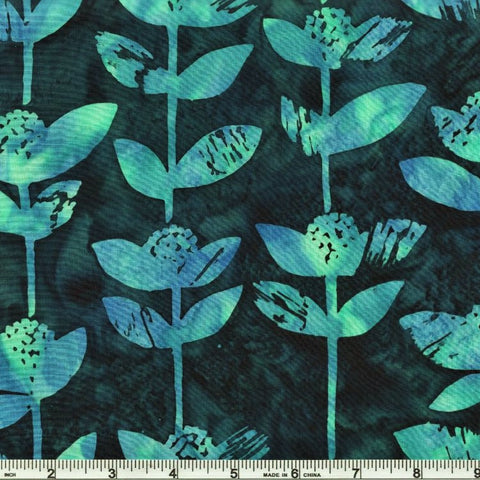 Hoffman Batik Open Waters 2241 361 Cabo Block Flower By The Yard