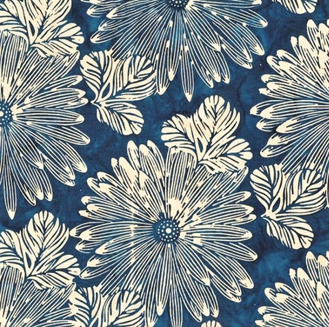 Hoffman Batik Sand & Surf 2249 68 Indigo Big Tropical By The Yard