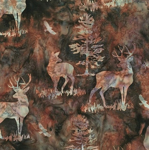 Hoffman Bali Batik 2256 180 Walnut Deer By The Yard