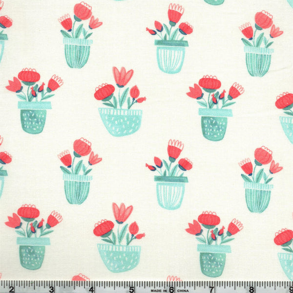 Northcott Sew Sweet 22661 61 Flower Planters Coral/Aqua By The Yard