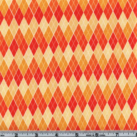 RJR Beggager's Bounty 2269 3 Orange Halloween Diamond Grid By The Yard