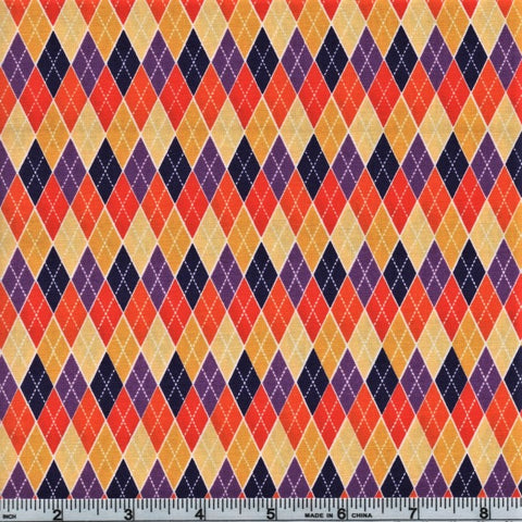RJR Beggager's Bounty 2269 4 Purple Halloween Diamond Grid By The Yard