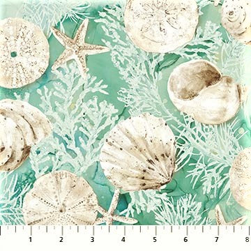 Northcott White Sands 22708 62 Seaweed & Shells Turquoise/Green By The Yard