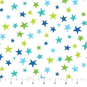 Northcott Go Fish 22725 10 Little Sea Stars White By The Yard