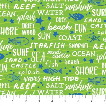 Northcott Go Fish 22728 74 Sea Words Grass Green By The Yard