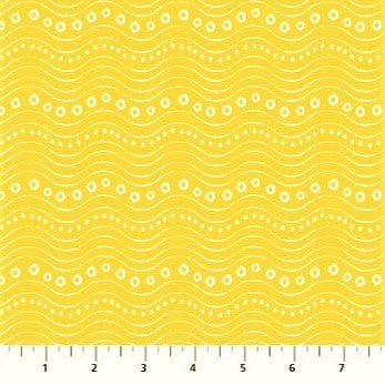 Northcott Go Fish 22729 52 Yellow Wave Bubbles By The Yard