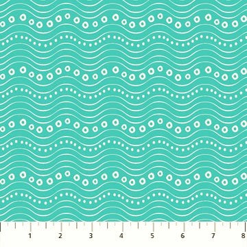 Northcott Go Fish 22729 62 Turquoise Wave Bubbles By The Yard