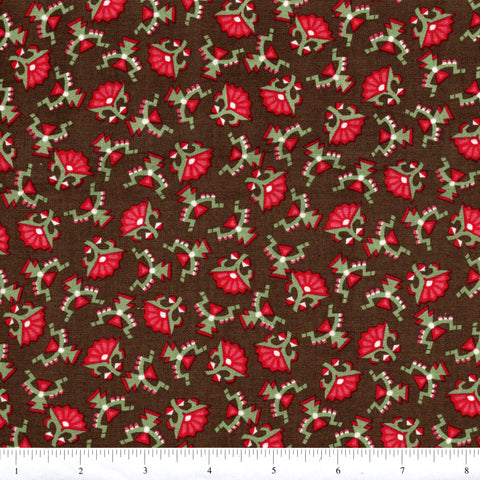 RJR Letters From Home 2272 3 Red Fan Flowers On Brown By The Yard
