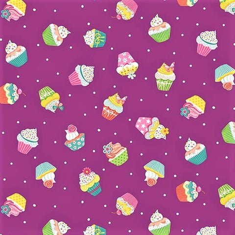 Makower Daydream 2277 L Purple Cupcakes By The Yard