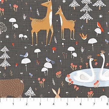 Northcott Winterland 22783 96 Dk. Grey Winter Forest Animals By The Yard
