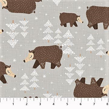 Northcott Winterland 22786 92 Lt. Grey Non-Hybernating Bears By The Yard