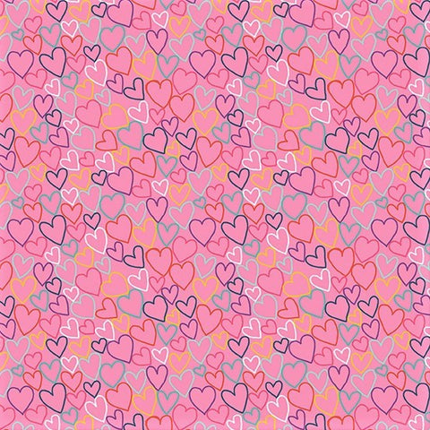Makower Daydream 2279 P Pink Hearts By The Yard