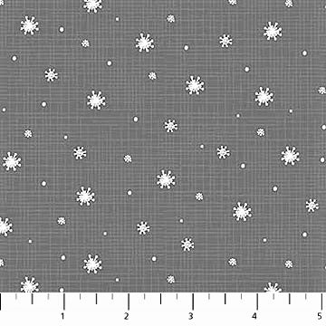 Northcott Winterland 22791 95 Dk. Grey Winterland Snow By The Yard