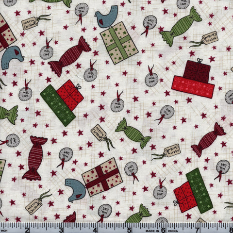 RJR Fabrics Holiday Festive Fun 2779 2 Christmas Gifts On White By The Yard