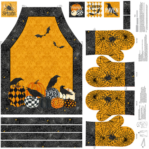 "Northcott Raven's Claw 22860 54 Orange Raven Cut & Sew 44"" PANEL By The PANEL (not by the yard)"