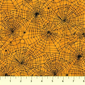 Northcott Raven's Claw 22866 54 Orange Web & Spider By The Yard