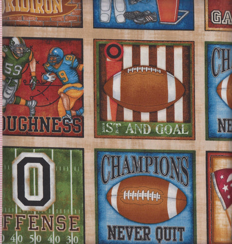 RJR Dan Morris The Whole 9 Yards 2287 1 Football Action Squares on Cream by the yard