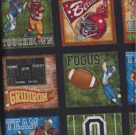 RJR Dan Morris The Whole 9 Yards 2287 2 Football Action Squares on Black by the yard