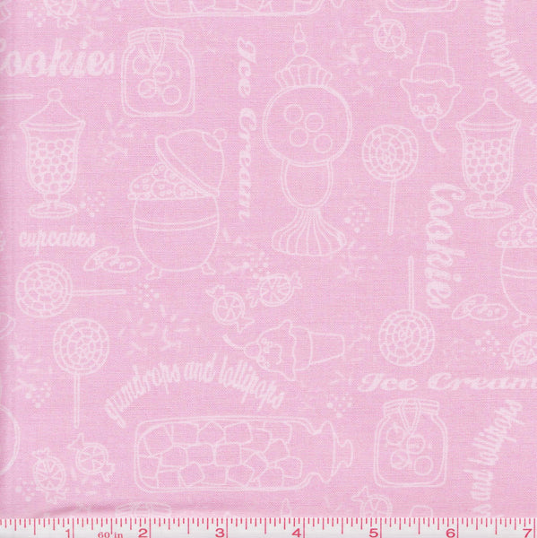 Quilting Treasures Gumdrops & Lollipops 22900 P White Sweets on Pink by the yard
