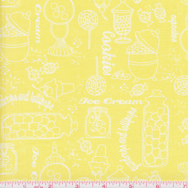 Quilting Treasures Gumdrops & Lollipops 22900 S White Sweets on Yellow by the yard
