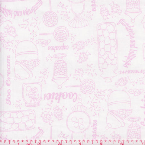 Quilting Treasures Gumdrops & Lollipops 22900 ZP Pink Sweets on White by the yard