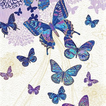 "Northcott Metallic Fantasia 22956 44 Cream Cobalt 23"" Butterfly PANEL By The PANEL (not by the yard)"