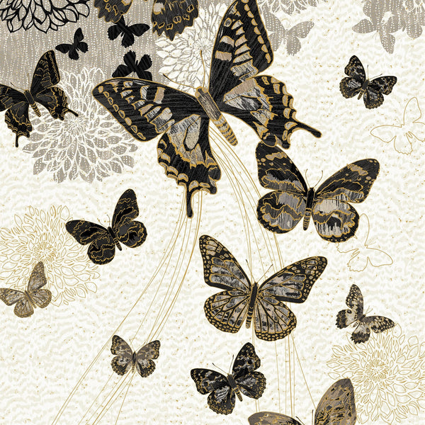 "Northcott Metallic Fantasia 22956 95  Cream Neutral 23"" Butterfly PANEL By The PANEL (not by the yard)"