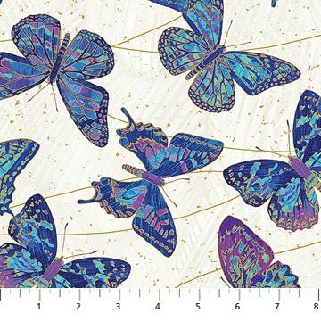 Northcott Metallic Fantasia 22957 44 Cream Cobalt Butterflies By The Yard