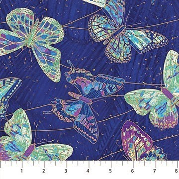 Northcott Metallic Fantasia 22957 48 Cobalt Butterflies By The Yard