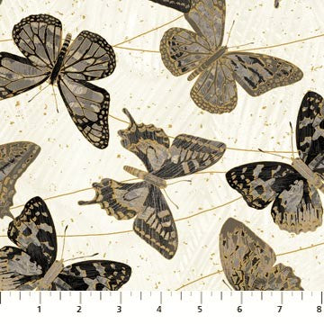 Northcott Metallic Fantasia 22957 91 Pale Gray Butterflies By The Yard