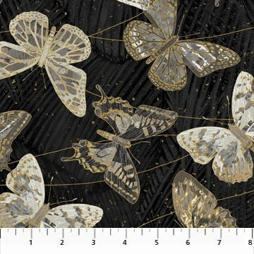 Northcott Metallic Fantasia 22957 99 Black Butterflies By The Yard