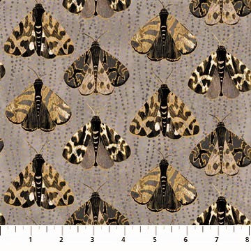Northcott Metallic Fantasia 22958 97 Dark Gray Moths By The Yard