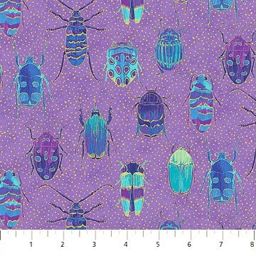 Northcott Metallic Fantasia 22959 85 Purple Bugs By The Yard