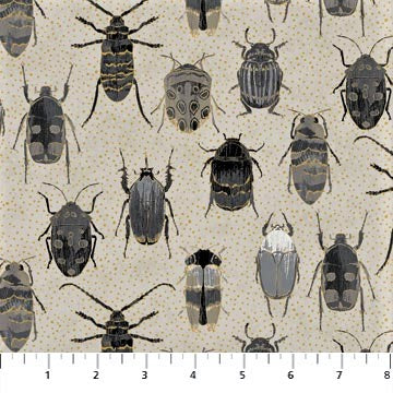 Northcott Metallic Fantasia 22959 93 Taupe Gray Bugs By The Yard