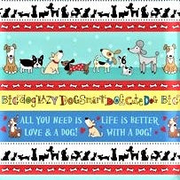 Northcott Doodle Dogs 22965 10 Doodle Dog Border Stripe By The Yard