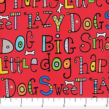 Northcott Doodle Dogs 22967 24 Red Dog Sayings By The Yard