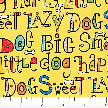 Northcott Doodle Dogs 22967 52 Yellow Dog Sayings By The Yard