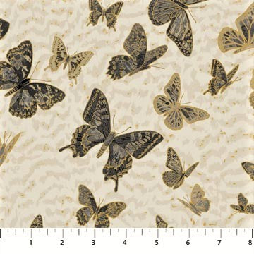 Northcott Metallic Fantasia 22975 92 Light Gray Butterfly Ombre By The Yard