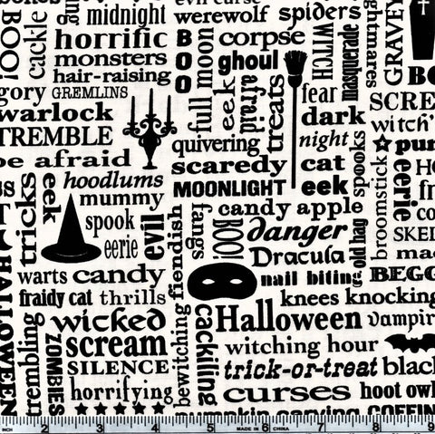 RJR Beggager's Bounty 2297 1 Black Spooky Words On White By The Yard