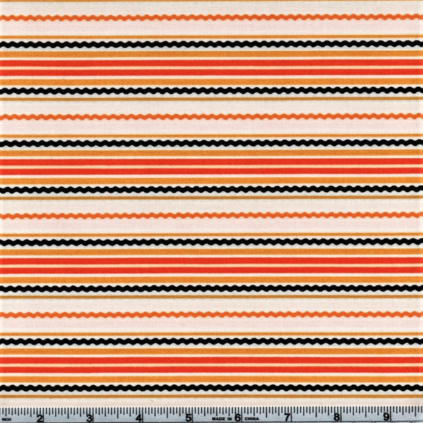 RJR Beggager's Bounty 2299 1 Halloween Horizontal Squiggly Lines  On White By The Yard