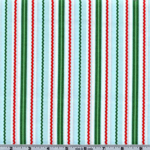 RJR Fabrics White Christmas 2299 5 Ric Rac Stripe On Baby Blue By The Yard