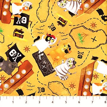 Northcott Shiver Me Whiskers 23024 52 Yellow Treasure Map Cats By The Yard
